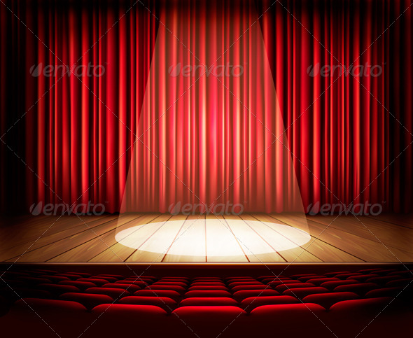 GraphicRiver A Theater Stage with a Red Curtain Seats 8677094
