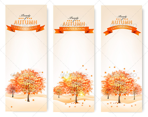 GraphicRiver Autumn background with colorful leaves and trees 8677181