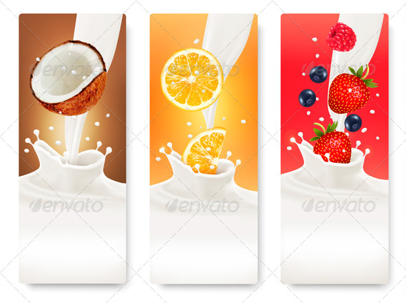 GraphicRiver Three Fruit and Milk Banners 8677190