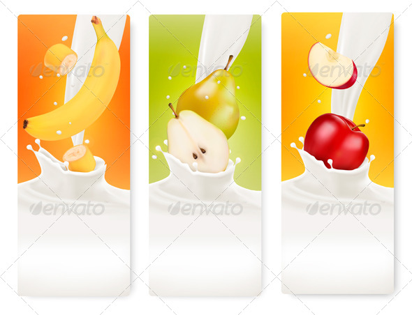 GraphicRiver Three Fruit and Milk Banners 8677196