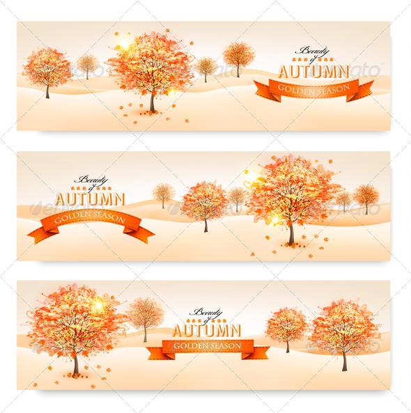GraphicRiver Autumn Background with Colorful Leaves and Trees 8677202