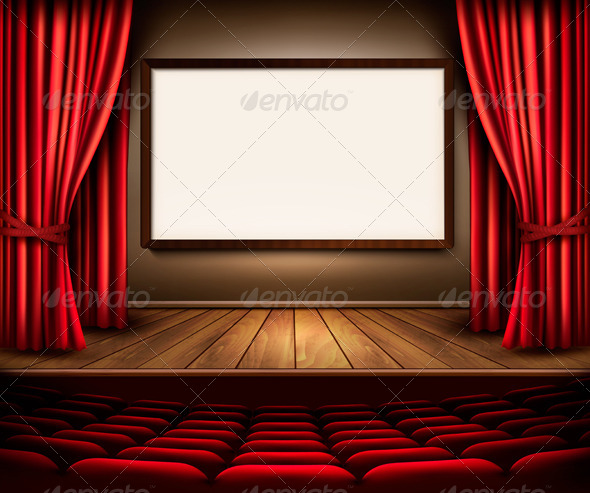 GraphicRiver Theater Stage with Red Curtains 8677207