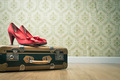 Vintage suitcase and red shoes - PhotoDune Item for Sale