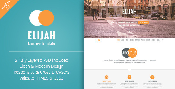 Elijah - Multipurpose Onepage HTML Template - Portfolio Creative