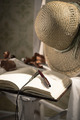 Writer's diary with straw hat - PhotoDune Item for Sale