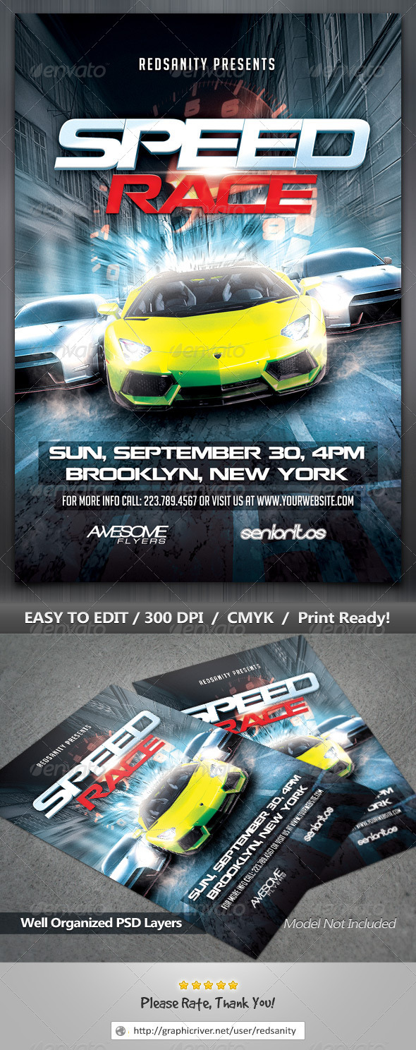 GraphicRiver Speed Race Flyer 8677302