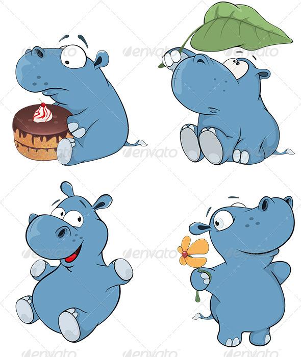 GraphicRiver Set of Hippopotamuses Cartoon 8677479