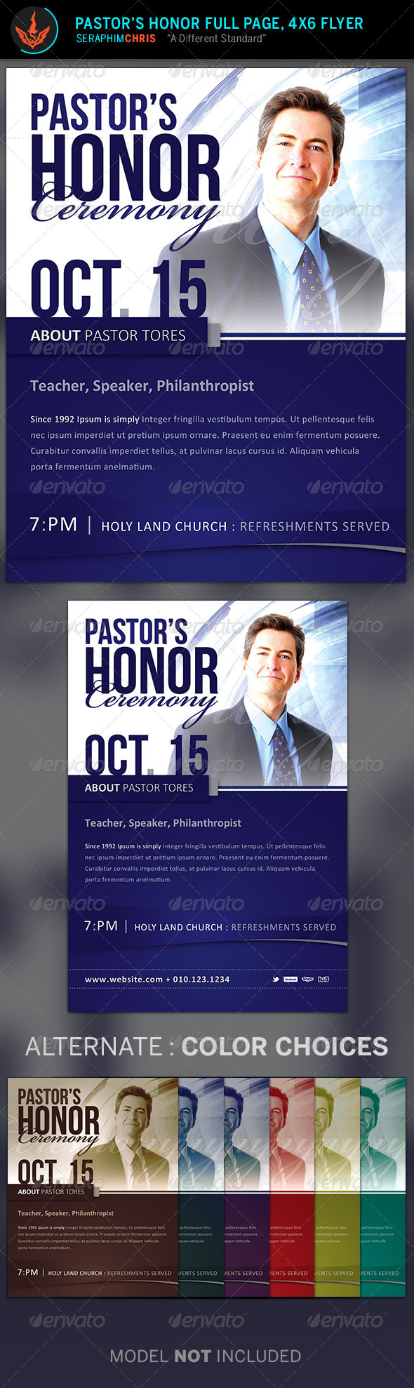 Pastor's Honor: Church Flyer Template - Church Flyers