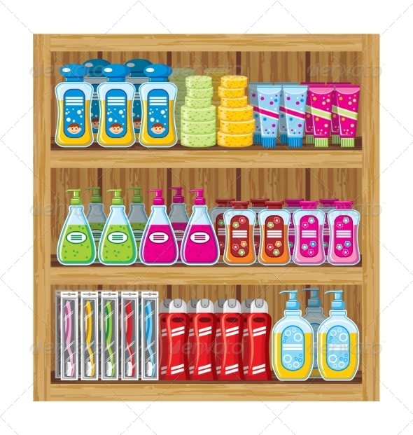 GraphicRiver Shelves with Household Chemicals 8677646