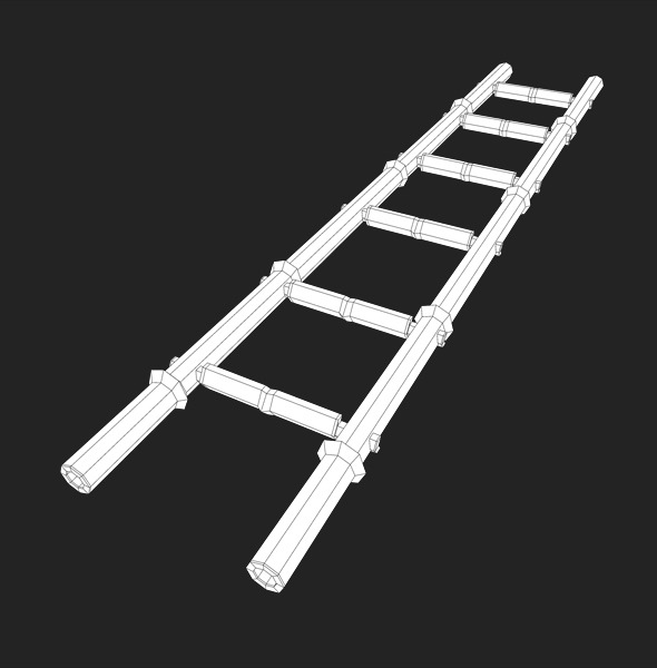 3DOcean Low Poly Bamboo Ladder 8677932