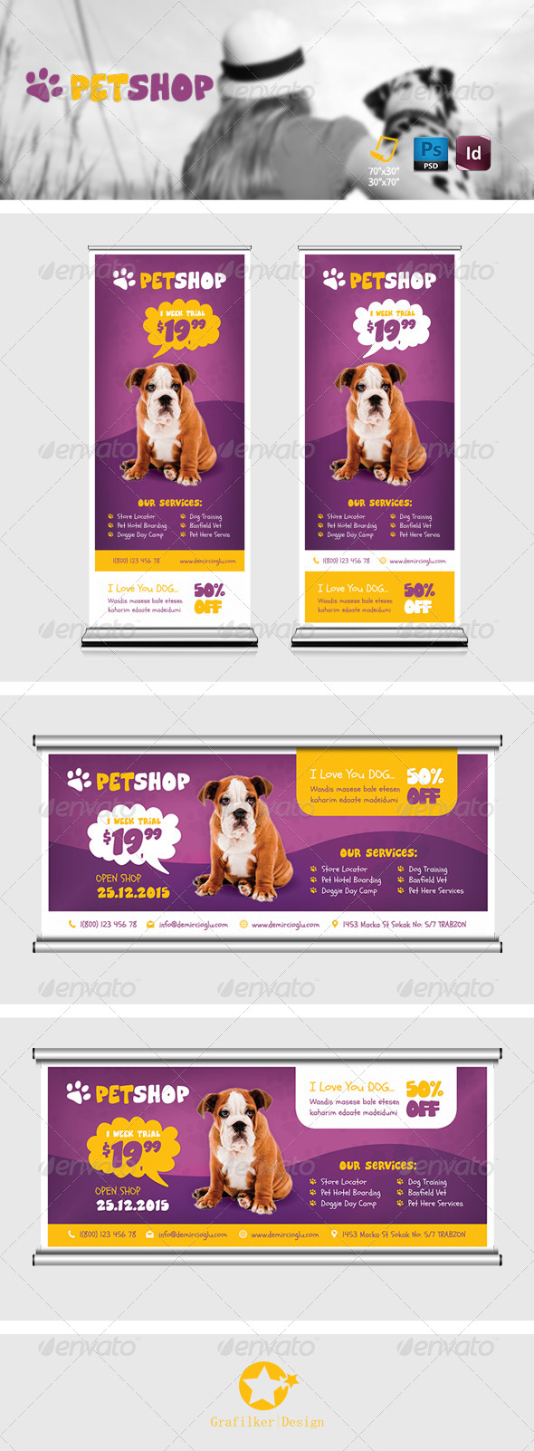 GraphicRiver Pet Shop Billboard Roll-Up Template 8678323