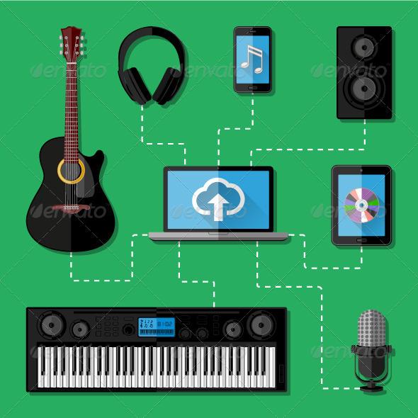 GraphicRiver Music Recording Studio Concept 8678342