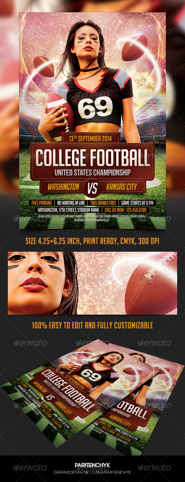 GraphicRiver College Football Flyer Template 8678370
