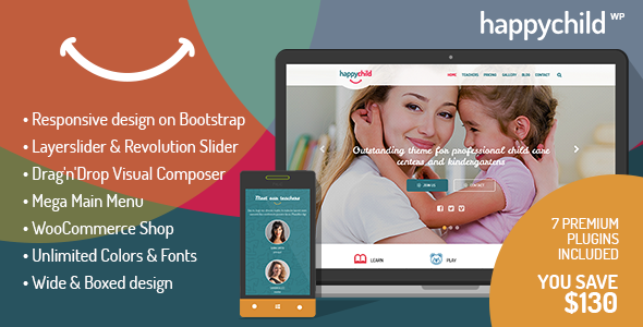 ThemeForest HappyChild Kindergarten WordPress Theme 8621832