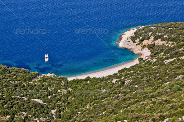 Crystal clean beach aerial view - Stock Photo - Images
