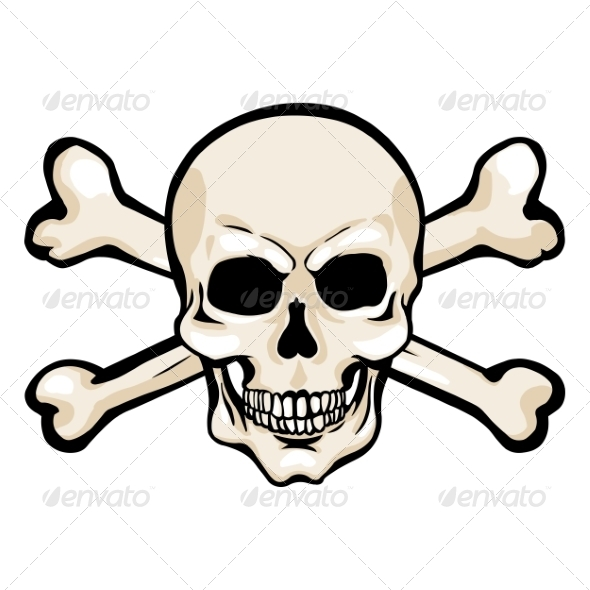 GraphicRiver Vector Cartoon Pirate Skull with Cross Bones 8678698