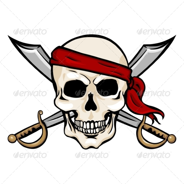 GraphicRiver Vector Cartoon Pirate Skull in Red Headband 8678700
