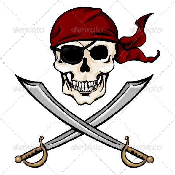 GraphicRiver Vector Single Cartoon Pirate Skull in Red Bandana 8678701