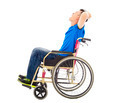 handicapped man sitting on a wheelchair and shouting over white background - PhotoDune Item for Sale