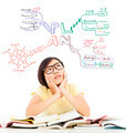 confused student girl thinking about future career plan over white background - PhotoDune Item for Sale