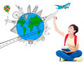 happy young woman drawing a travel trip planning over white background - PhotoDune Item for Sale