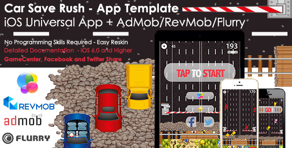 CodeCanyon Car Save Rush Universal iOS Full Game App & Ads 8679151