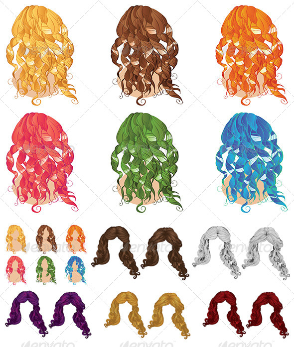 GraphicRiver Curly Hair Styles 8679179