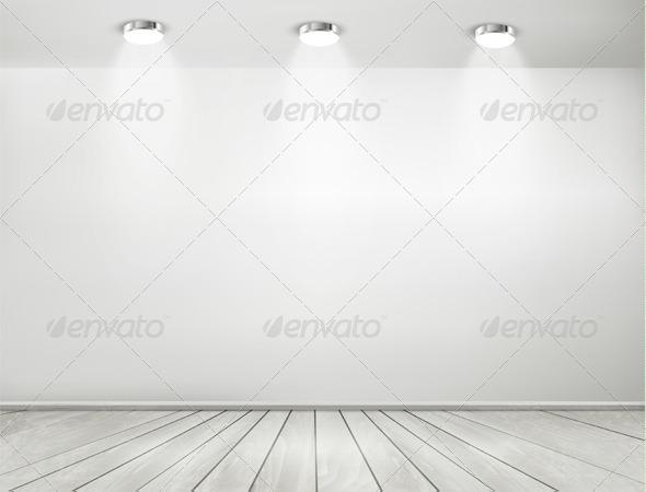 GraphicRiver Grey Room Spotlights and Wooden Floor 8677083