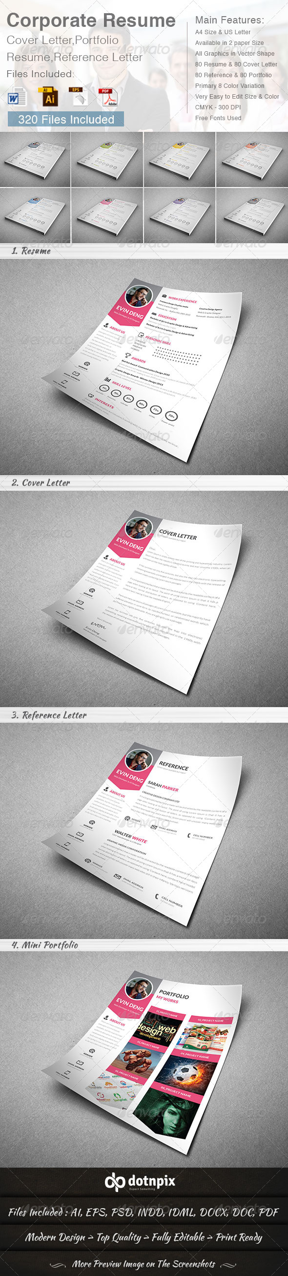 GraphicRiver Corporate Resume 4 in 1 8658356