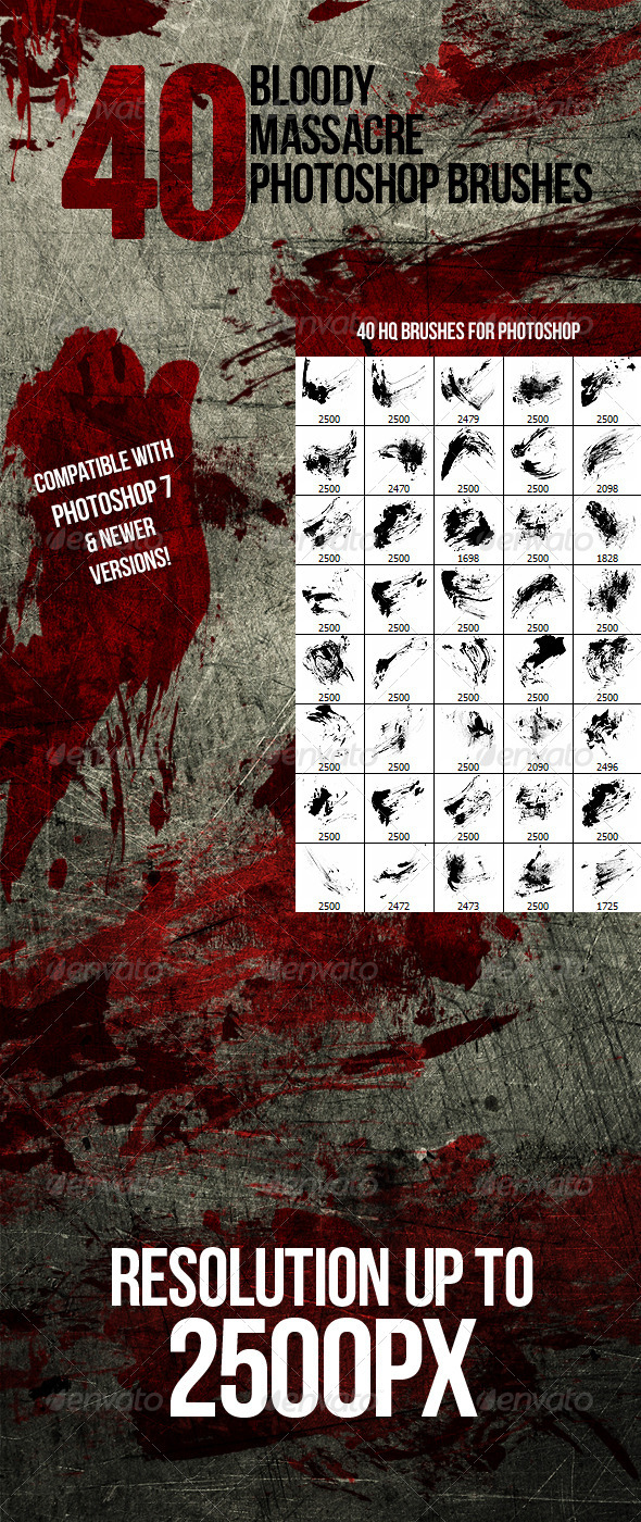 40 Bloody Massacre Photoshop Brushes - Grunge Brushes