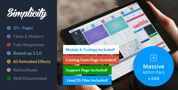 Simplicity - Responsive Massive Admin Pack - Admin Templates Site Templates