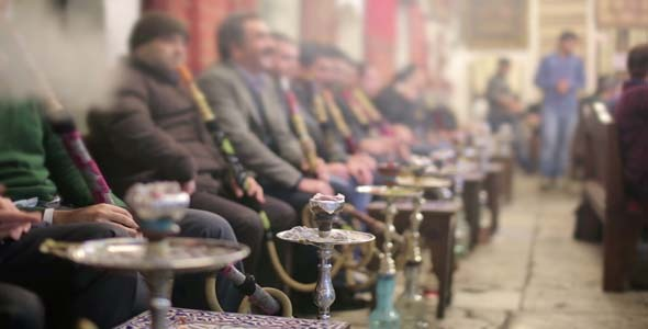 People smoking shisha at Nargile Cafe Istanbul