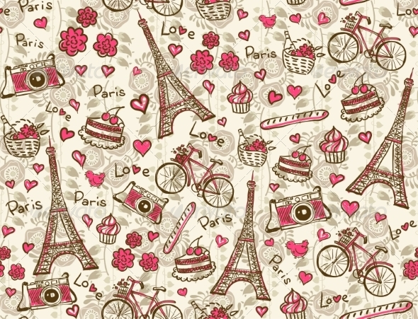 GraphicRiver Paris Vintage Background Seamless Vector Pattern 8680046