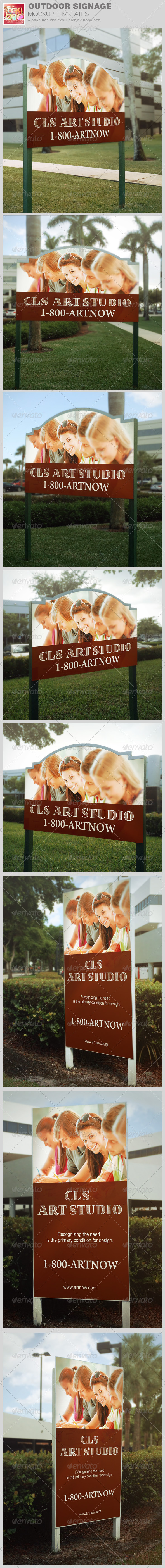 GraphicRiver Outdoor Signage Mockup Template 8680130