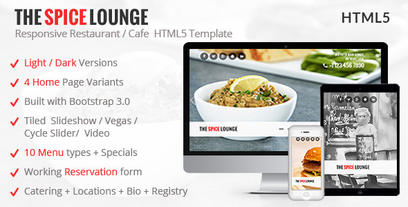 ThemeForest The Spice Lounge Restaurant Cafe HTML Template 8612005