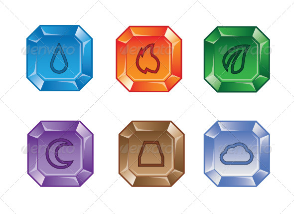 GraphicRiver Set of Elemental Gems 2 for Match 3 Puzzle Game 8680710