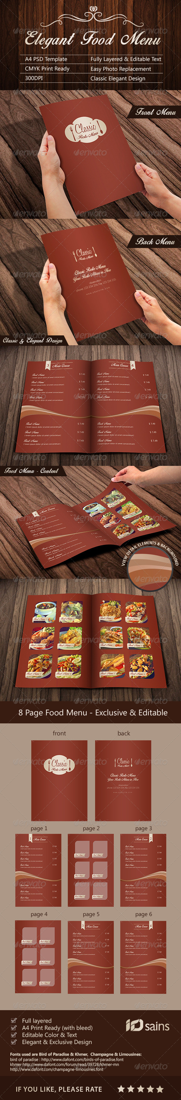 GraphicRiver Elegant Food Menu Template 8631196