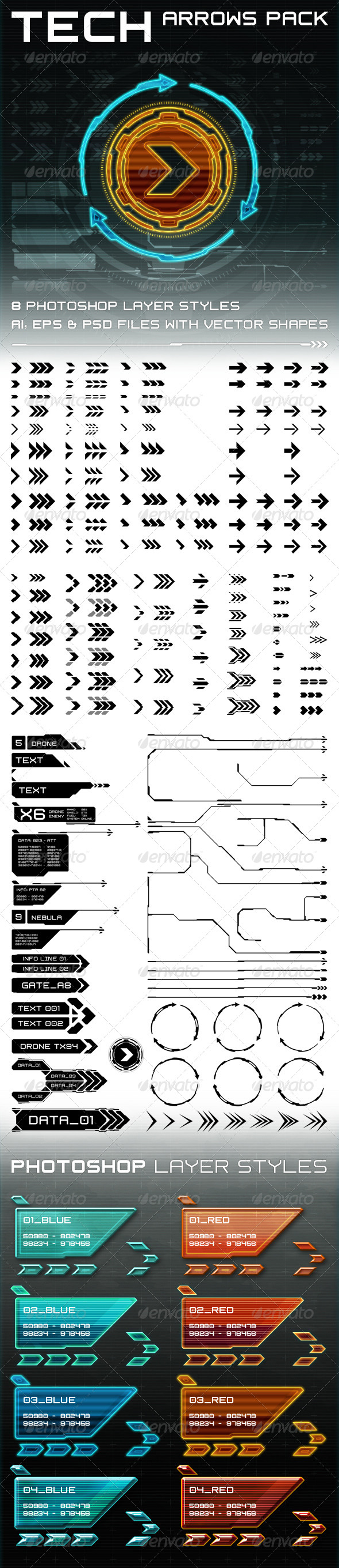 GraphicRiver Tech Arrows Pack 8681583