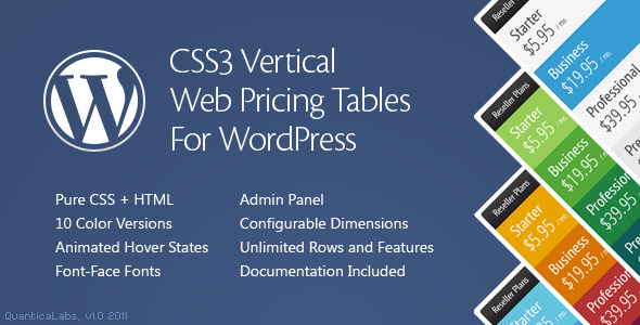 CodeCanyon CSS3 Vertical Web Pricing Tables For WordPress 884301