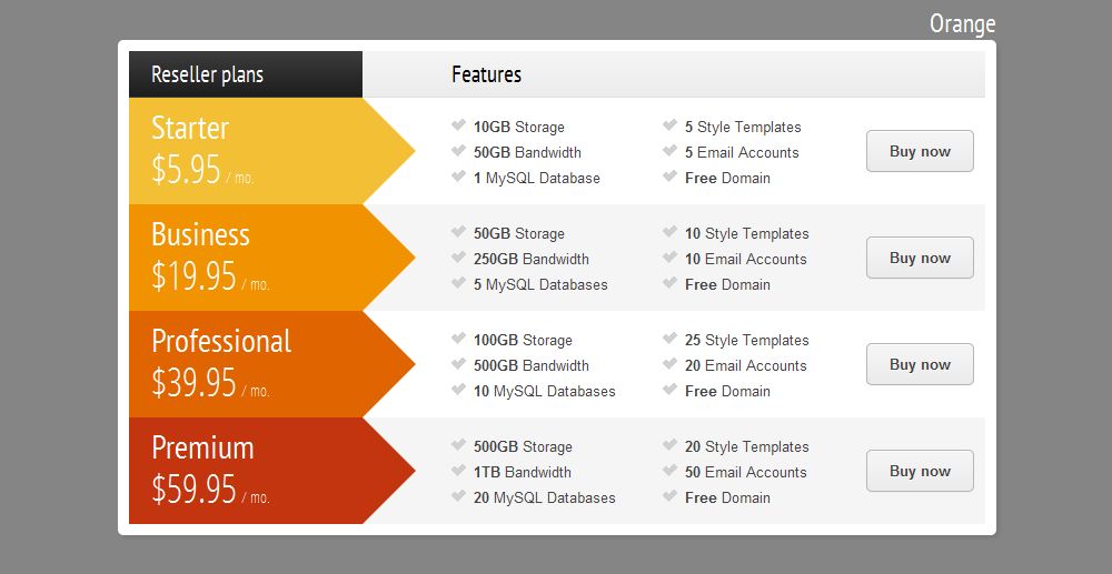 CSS3 Vertical Web Pricing Tables For WordPress by