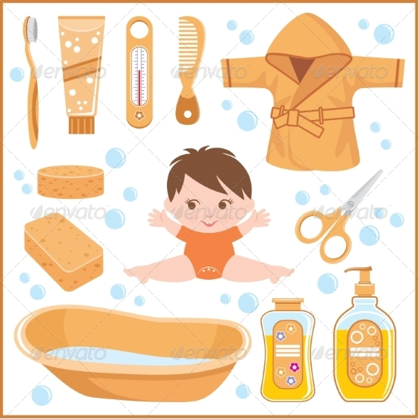 GraphicRiver Set of Children s things for Bathing 8682635