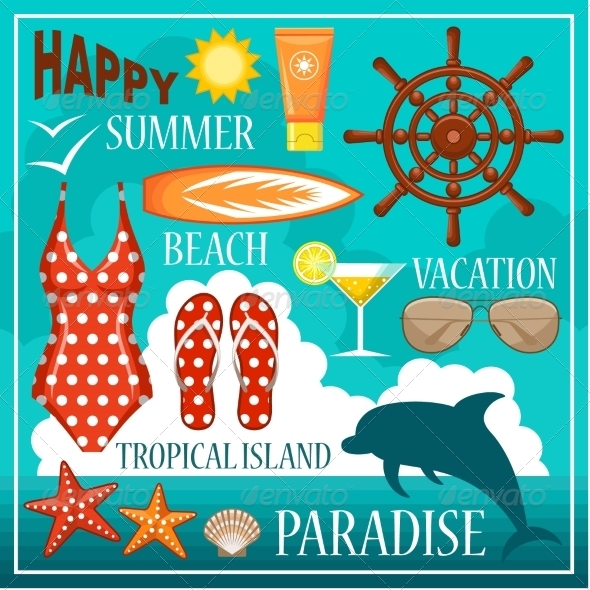 GraphicRiver Summer Beach Set 8682672