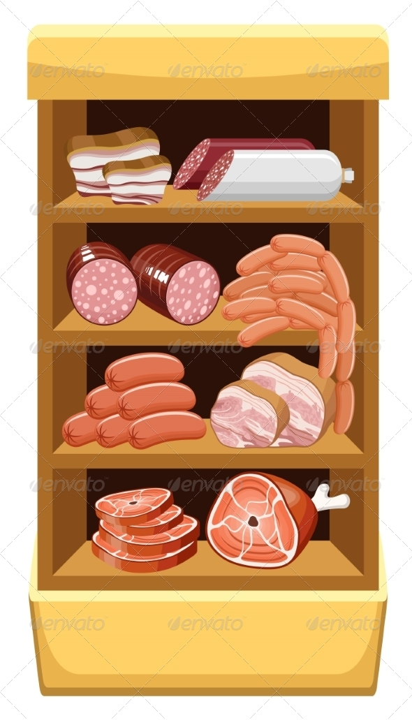 GraphicRiver Shelfs with Meat Products 8682682