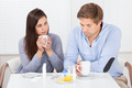 Sick Couple Drinking Lemon Tea At Table - PhotoDune Item for Sale