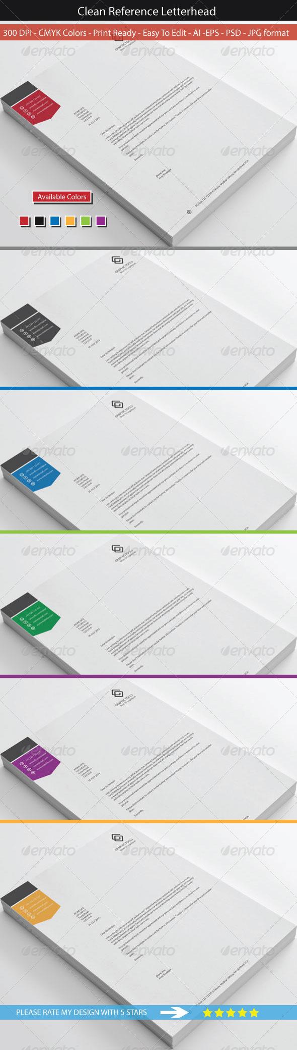 GraphicRiver Clean Reference Letterhead Design 8684404