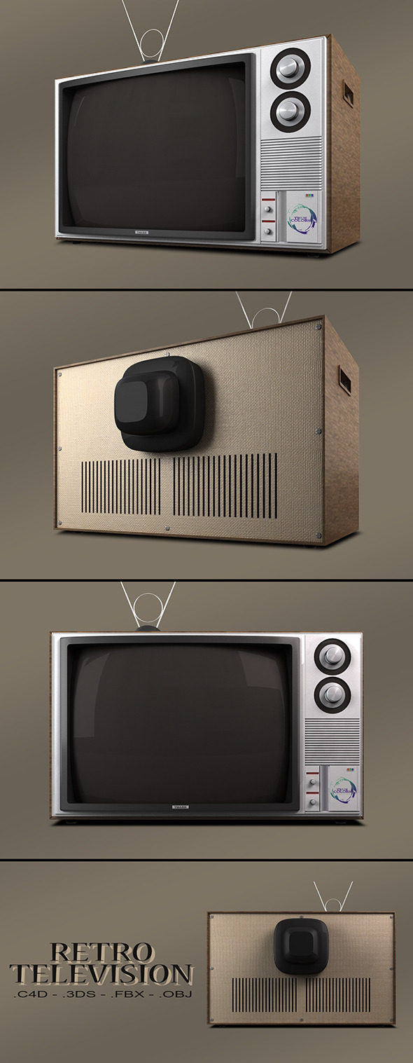Retro Television Vray - 3DOcean Item for Sale
