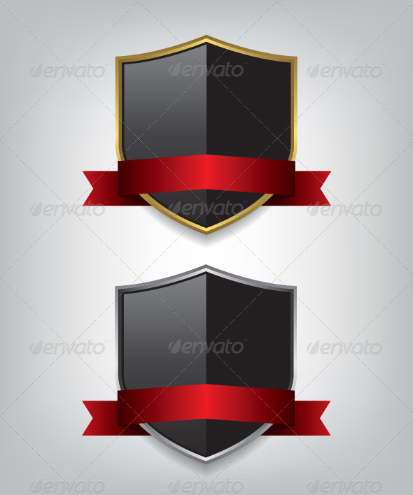 GraphicRiver Gold and Silver Shields with Ribbons 8685630