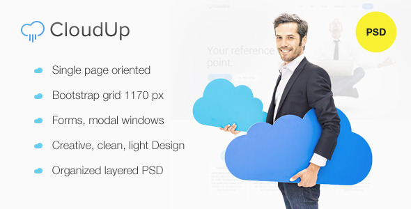 CloudUp — Hosting PSD one page Theme Download