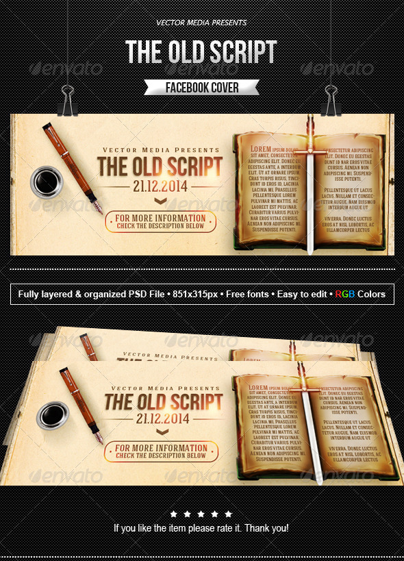 GraphicRiver The Old Script Facebook Cover 8686436