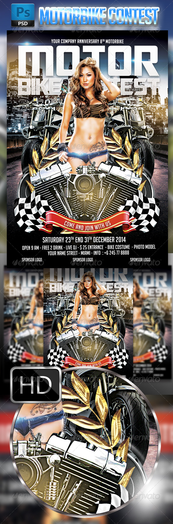 GraphicRiver motorbike Contest Flyer Template 8687056